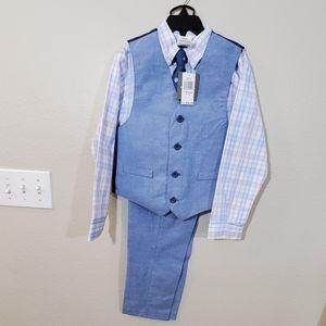 New Blue 4 pc Boys suit size 7 vest shirt pants